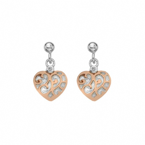 Silver and Rose Heart Earrings